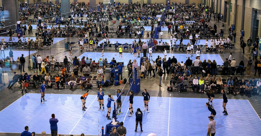 Overview of the courts set up during the Monument City Classic volleyball tournament at the Greater Richmond Convention Center.