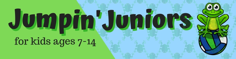 Jumpin' Juniors for kids ages 7-14 webpage banner for junior volleyball league