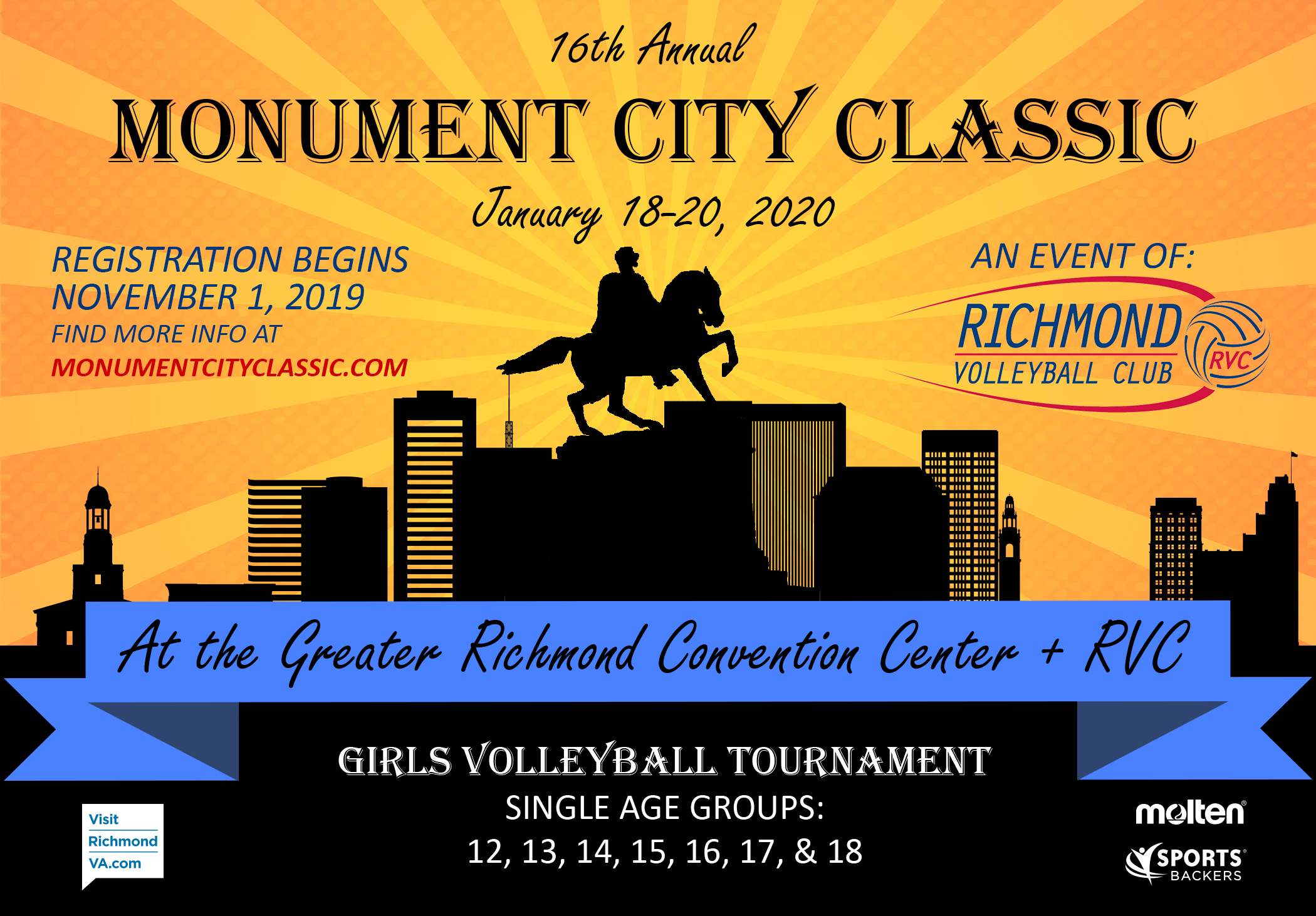 Monument City Classic girls volleyball tournament over Martin Luther King weekend January 18, 19, and 20 help in Richmond, Virginia