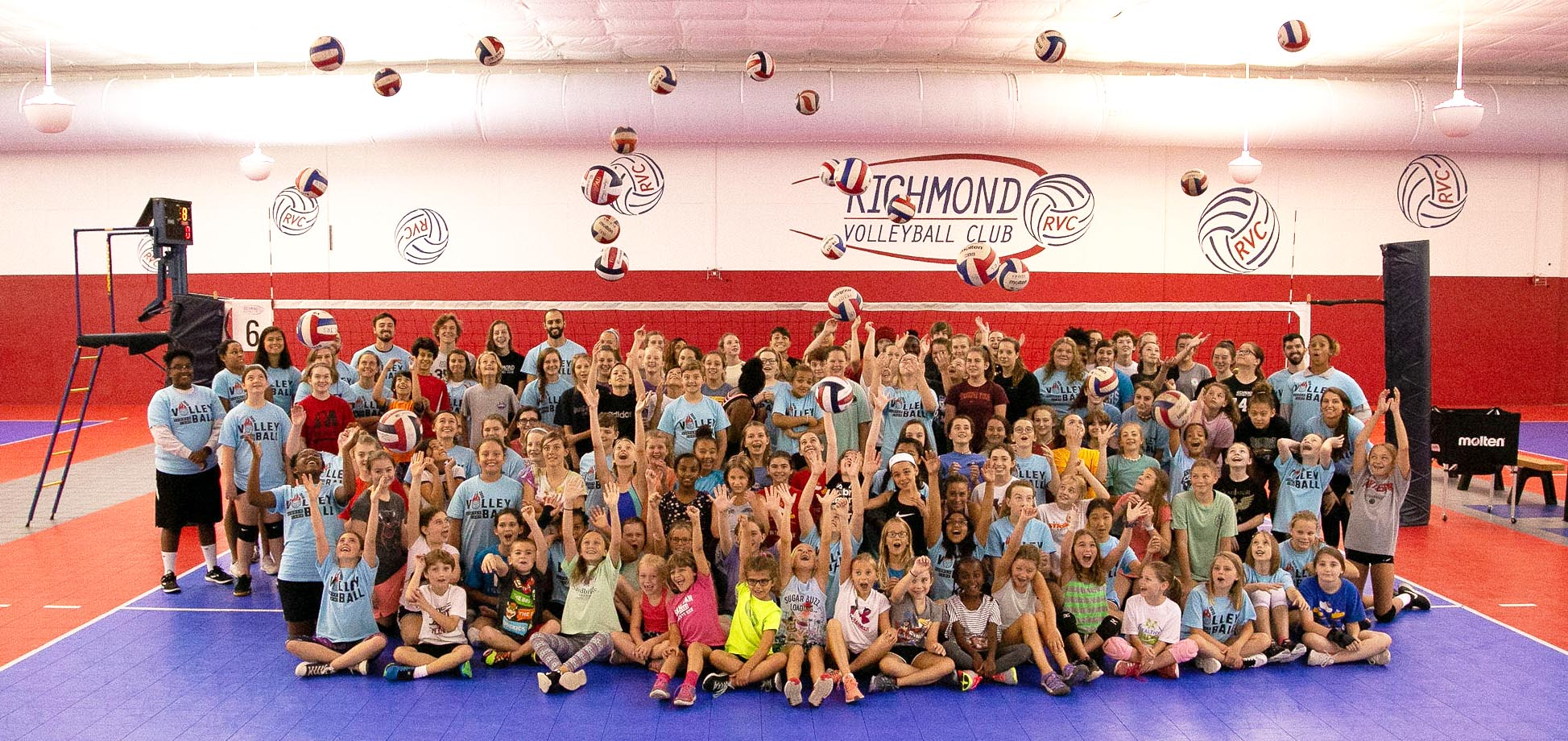 summer camps at Richmond Volleyball Club campers and staff group photo