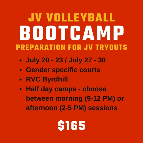 JV Bootcamp Volleyball Summer Camps at Richmond Volleyball Club for kids trying out for high school volleyball