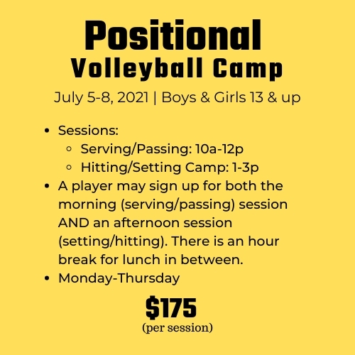 FUN-damentals Volleyball Summer Camps at Richmond Volleyball Club for kids ages 7-12